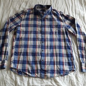 J. Crew Slim Homespun Red Blue Plaid Shirt Medium